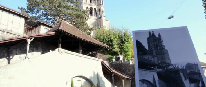 Une carte postale avec une photo de la Cathédrale de Lausanne, issue de la collection du Musée historique de Lausanne