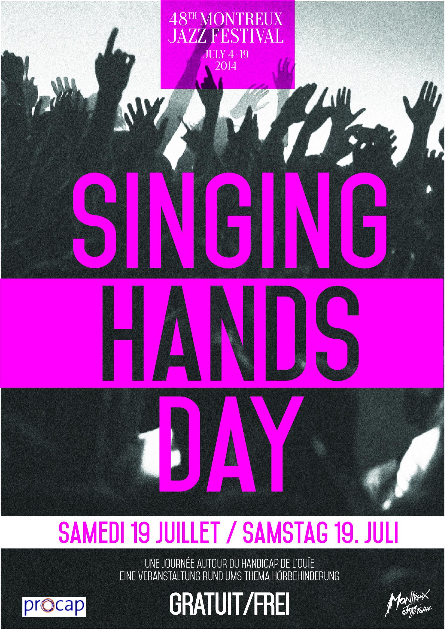 Affiche du concert Singing Hands au Montreux Jazz Festival, le samedi 19 juillet 2014