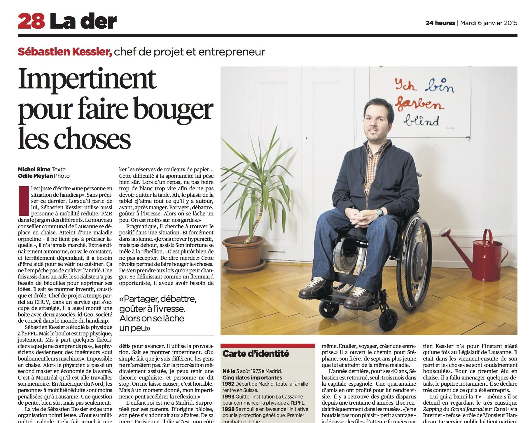 La der du 24heures du 6 janvier 2015, avec un portrait de Sébastien Kessler