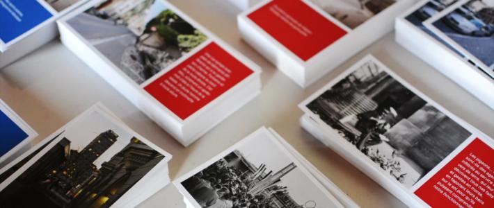 Des cartes postales avec des photographies du Musée historique de Lausanne, accompagnées de textes rédigés lors d'ateliers d'écriture à l'Unité de réhabilitation de l'Hôpital de Cery