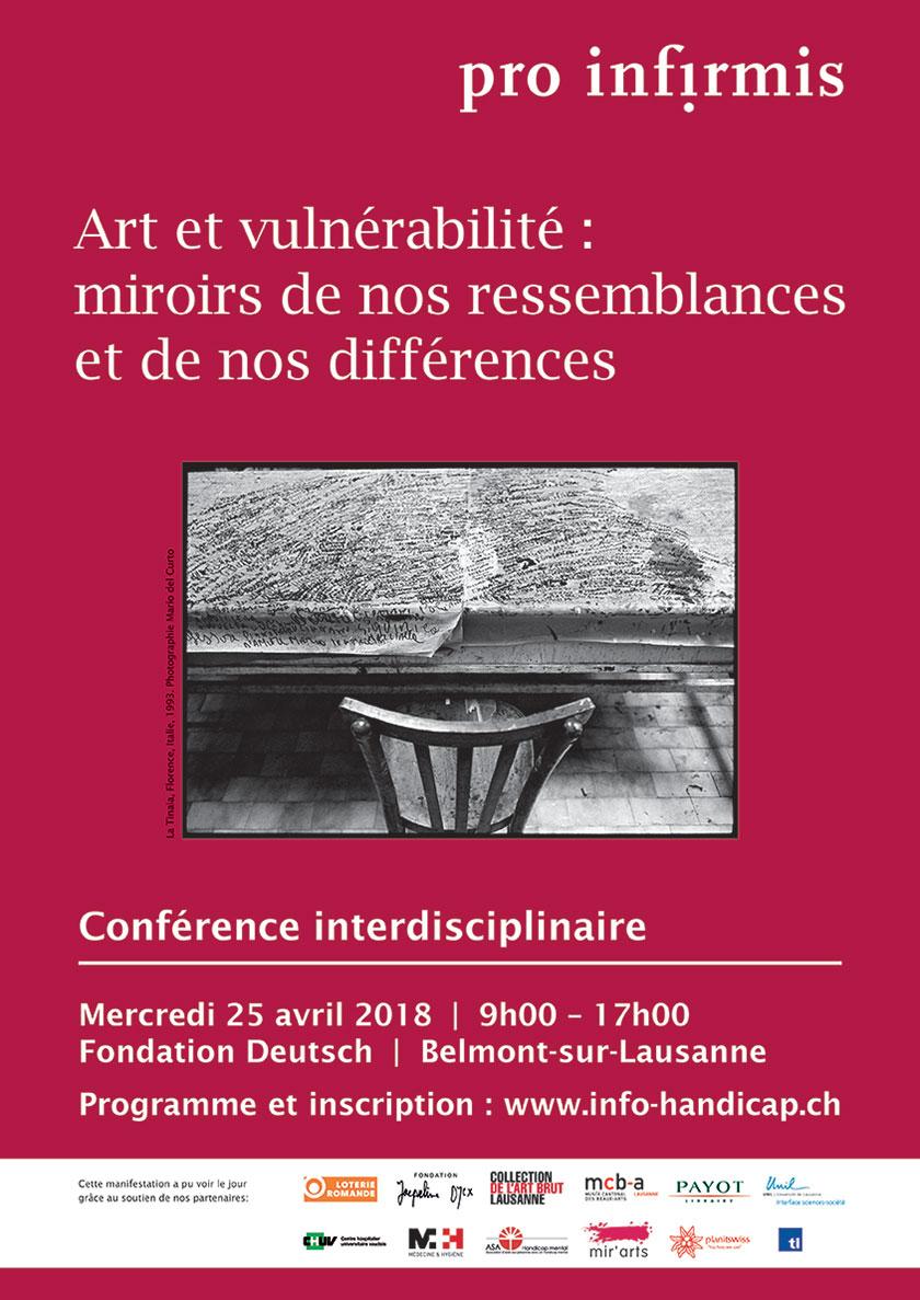 Affiche de la conférence du 25 avril 2018 sur l'art et la vulnérabilité