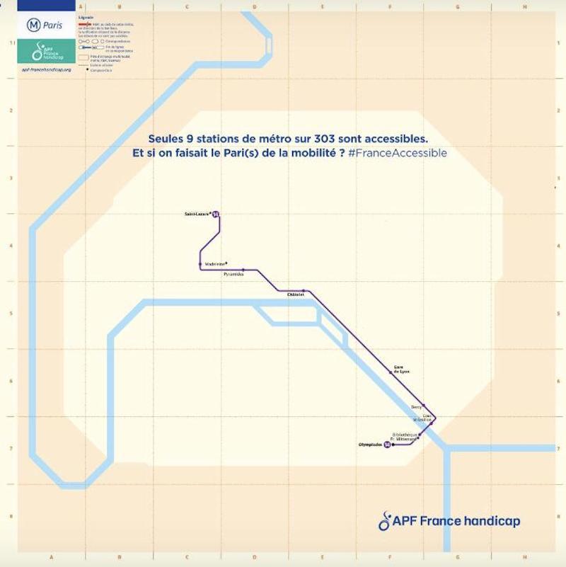 Plan métro Paris accessible